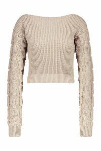 Womens Bobble Sleeve Crop Jumper - beige - M/L, Beige
