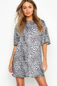 Womens Leopard Print Oversized T-Shirt Dress - grey - 14, Grey