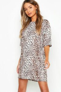 Womens Leopard Print Oversized T-Shirt Dress - brown - 16, Brown