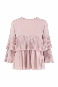 Womens Woven Pleated Smock Top - pink - 12, Pink