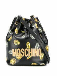 Moschino heart coin print bucket bag - Black