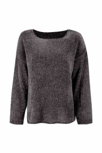 Womens Oversized Chenille Jumper - grey - S/M, Grey