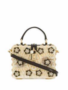 Dolce & Gabbana floral embellished box bag - Neutrals
