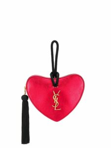 Saint Laurent monogram heart metallic clutch - Red