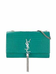 Saint Laurent Kate embossed crocodile effect shoulder bag - Green