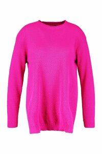 Womens Plus Side Split Moss Stitch Tunic Jumper - Pink - 20, Pink