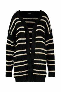 Womens Plus Stripe Chunky Oversized Cardigan - black - 20-22, Black
