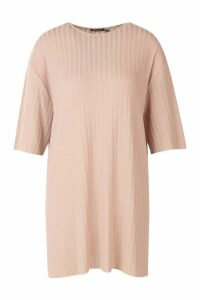 Womens Petite Rib Knitted Slouchy T-Shirt Dress - beige - 8, Beige