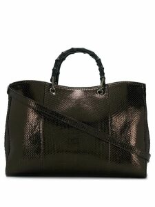 Gucci metallic bronze python skin tote bag - Brown