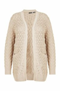 Womens Plus Crochet Knitted Oversized Cardigan - beige - 20, Beige