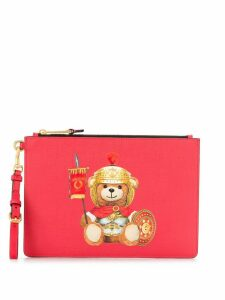 Moschino Teddy print clutch - Red