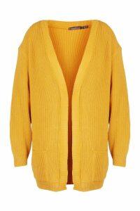 Womens Plus Boyfriend Knitted Cardigan - yellow - 20, Yellow