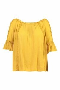 Womens Plus Cold Shoulder Crochet Trim Top - yellow - 20, Yellow