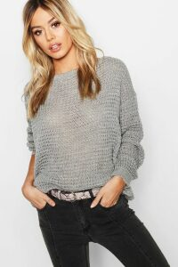 Womens Petite Off The Shoulder Waffle Knit Jumper - grey - M, Grey