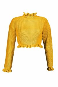 Womens Petite Ruffle Neck Crop Jumper - yellow - M/L, Yellow