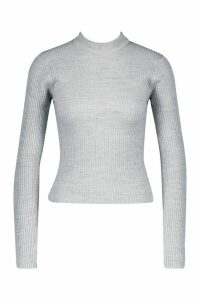Womens Petite Ribbed Knitted High Neck Jumper - grey - M, Grey
