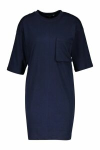 Womens Cotton Pocket Detail Oversized T-Shirt Dress - navy - 14, Navy
