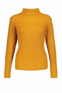 Womens Petite Rib Knit Roll Neck Jumper - yellow - M, Yellow