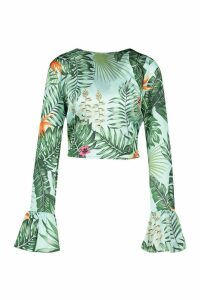 Womens Tall Tie Front Tropical Top - blue - 14, Blue