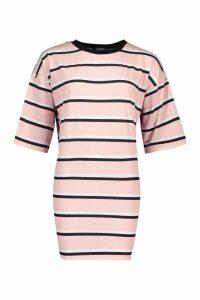 Womens Oversized Stripe T-Shirt Dress - Pink - M/L, Pink