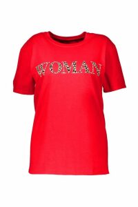 Womens Plus Woman Leopard Oversized T Shirt - red - 24, Red