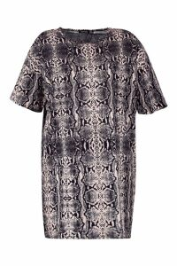 Womens Plus snakeskin Oversized T-Shirt Dress - grey - 20, Grey