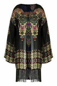 Womens Plus Printed Fringe Kimono - black - 22, Black