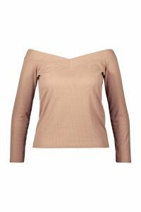 Womens Plus Rib Sweetheart Neck Basic Top - beige - 26, Beige