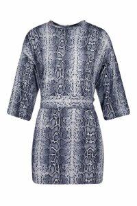 Womens Petite Snake Print Belted T-Shirt Dress - grey - 14, Grey