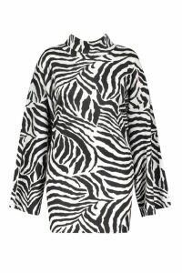 Womens Plus Tiger Wide Rib Oversized Jumper Dress - white - 28, White
