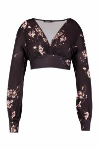 Womens Plus Slinky Cherry Blossom Plunge Batwing Top - black - 28, Black
