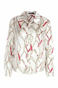 Womens Petite Chain Print Shirt - cream - 14, Cream