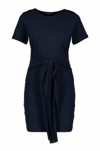 Womens Petite Tie Waist T-Shirt Dress - blue - 4, Blue