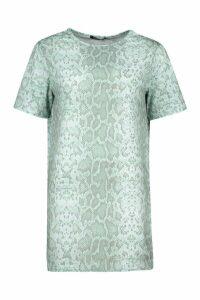 Womens Petite Snake Print T-Shirt Dress - green - 8, Green
