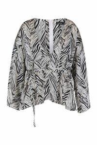Womens Plus Zebra Print Plunge Kimono Sleeve Top - white - 20, White