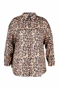Womens Plus Oversized Satin Leopard Shirt - brown - 18, Brown