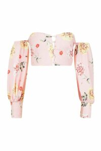 Womens Petite Woven Floral Button Off The Shoulder Top - Pink - 14, Pink