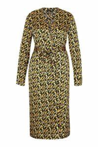Womens Plus Oriental Floral Satin Belted Kimono - yellow - 18, Yellow