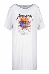 Womens Plus Metallica Licensed T-Shirt Dress - white - 18, White