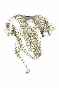 Womens Plus Chain Print Ruffle Angel Sleeve Bodysuit - white - 18, White