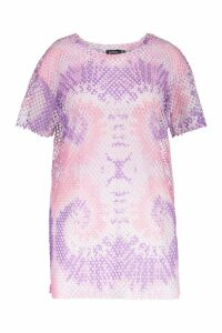 Womens Plus Pink Tie Dye Mesh T-Shirt Dress - 18, Pink