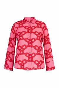 Womens Plus Woven Chain Print Shirt - Pink - 16, Pink