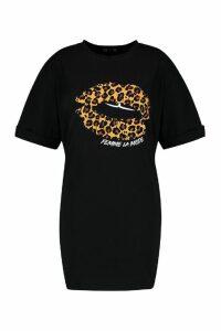 Womens Plus Leopard Print Lips T-Shirt Dress - black - 18, Black