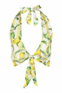 Womens Petite Lemon Stripe Tie Front Halterneck Top - yellow - 14, Yellow