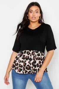 Womens Plus Contrast Leopard Smock Top - black - 26, Black