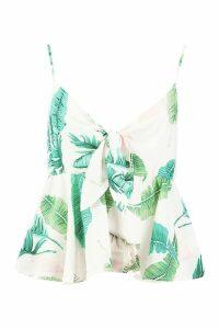 Womens Petite Palm Print Peplum Hem Cami - white - 8, White