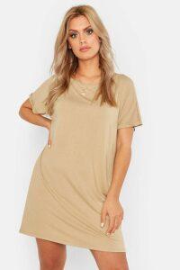 Womens Plus Oversized Roll Sleeve T-Shirt Dress - beige - 20, Beige