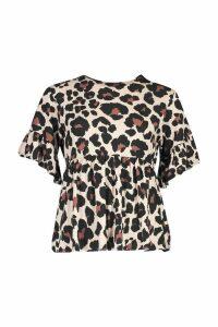 Womens Petite Leopard Print Smock Top - brown - 4, Brown