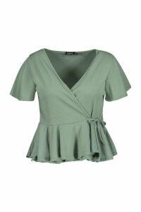 Womens Plus Rib Wrap Cap Sleeve Peplum Top - green - 22, Green