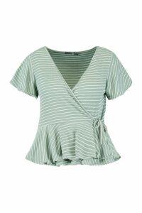 Womens Plus Stripe Rib Wrap Cap Sleeve Peplum Top - green - 18, Green